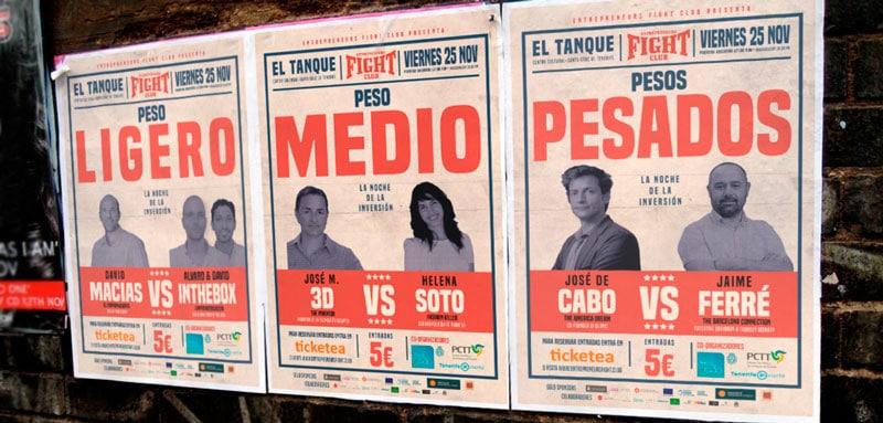 Entrepreneurs-Fight-Club-Pegada-de-poster-calle-ponentes-pesos-pesados-medios-ligero