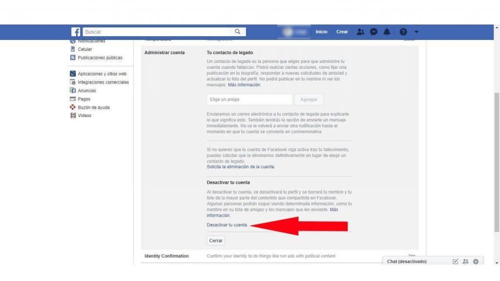 como borrar una cuenta de facebook